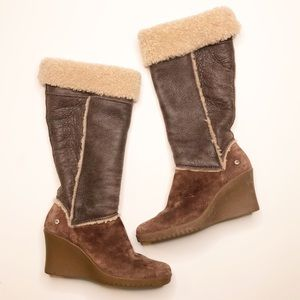 Ugg shearling Sandra wedge leather boots